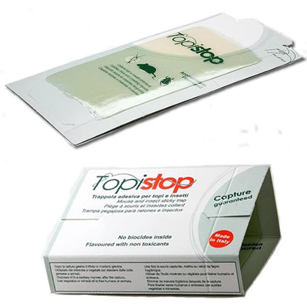 Lot de 10 plaques de glu avec attractif pour souris, Topistop